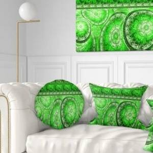 DESIGN ART Designart 'Green Living Cells Fractal Design' Abstract Throw Pillow (Round - 20 inches round - Large)