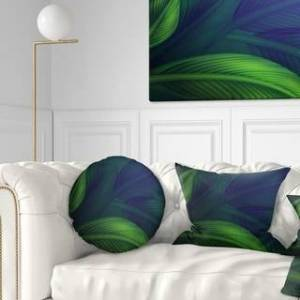 DESIGN ART Designart 'Tropic Jungle Leaves Background' Floral Throw Pillow (Round - 20 inches round - Large)
