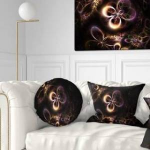 DESIGN ART Designart 'Glowing Small Fractal Flowers' Abstract Throw Pillow (Round - 20 inches round - Large)