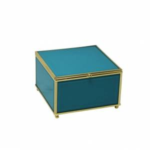 Benzara Attractive Square Shaped Wood And Glass Storage Box, Blue