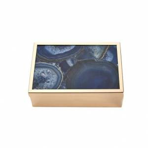 Benzara Gorgeous Metal And Wood Storage Box With Agate Top, Blue (Blue)