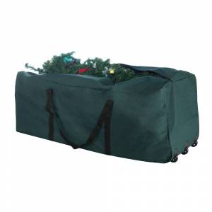 Trademark Global Elf Stor Premium Rolling Christmas Tree Storage Duffel Bag 9' Tree (Red)