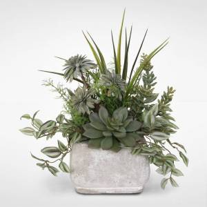 Jenny Silks Assorted Artificial Succulents & Greenery in a Stone Pot