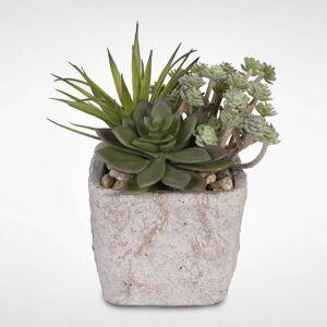 Jenny Silks Artificial Succulents with Natural Pebbles in a Concrete Pot