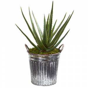 Nearly Natural Aloe 25-inch Artificial Plant in Vintage Metal Bucket