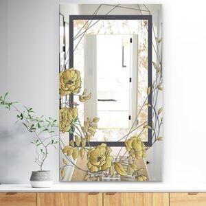 DESIGN ART Designart 'Gold Botanical Blooming 3' Traditional Mirror - Vanity Mirror (29.5 in. wide x 47.4 in. high)