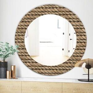 DESIGN ART Designart 'Hemp Rope' Farmhouse Mirror - Frameless Oval or Round Wall Mirror - Brown (Round - 24 in. wide x 24 in. high)