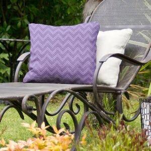 ArtVerse Reverse Monochromatic Hand Drawn Chevrons Indoor/Outdoor Pillow (20 x 20 - Purple - UV Resistant)