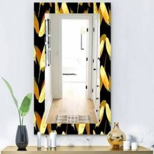 DESIGN ART Designart 'Feathers 6' Bohemian and Eclectic Mirror - Vanity Mirror (29.5 in. wide x 47.4 in. high)