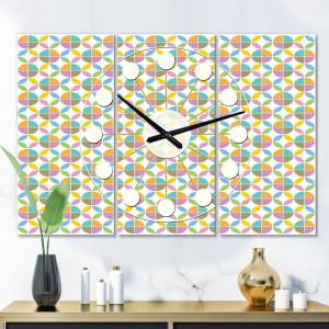 DESIGN ART Designart 'Retro Geometric  Design VIII' Oversized Mid-Century wall clock - 3 Panels - 36 in. wide x 28 in. high - 3 Panels (36 in. wide x 28 in.