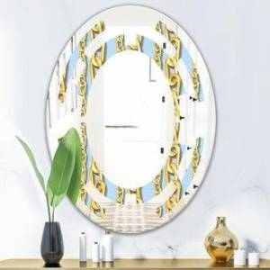 DESIGN ART Designart 'Gold Chain Pattern' Modern Round or Oval Wall Mirror - Space (20 in. wide x 30 in. high - Oval)