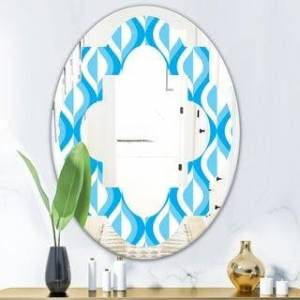 Designart 'Retro Pattern Abstract Design VI' Modern Round or Oval Wall Mirror - Quatrefoil (23.7 in. wide x 31.5 in. high - Oval)