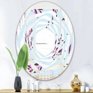 DESIGN ART Designart 'Bright Eucalyptus Floral Pattern I' Cottage Round or Oval Wall Mirror - Whirl (20 in. wide x 30 in. high - Oval)