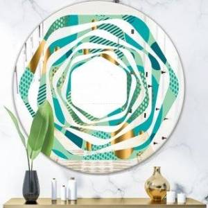 DESIGN ART Designart 'Gold and Blue Dynamics III' Modern Round or Oval Wall Mirror - Whirl (31.5 in. wide x 31.5 in. high)