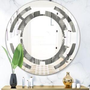 DESIGN ART Designart 'Mimimal Black and White Design II' Modern Round or Oval Wall Mirror - Space (Round - 31.5 in. wide x 31.5 in. high)