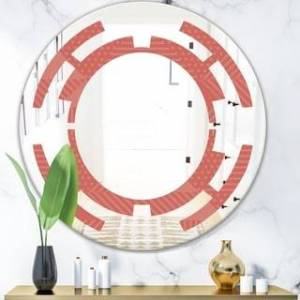 DESIGN ART Designart 'Triangual Retro Coral Pattern' Modern Round or Oval Wall Mirror - Space (Round - 31.5 in. wide x 31.5 in. high)