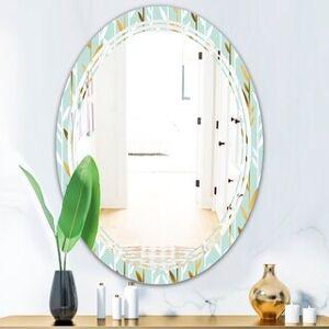 DESIGN ART Designart 'Golden Foliage I' Modern Round or Oval Wall Mirror - Triple C (20 in. wide x 30 in. high)