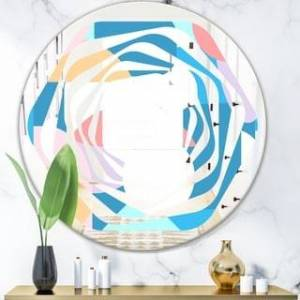 DESIGN ART Designart 'Retro Geometrical Abstract Pattern II' Modern Round or Oval Wall Mirror - Whirl (Round - 31.5 in. wide x 31.5 in. high)