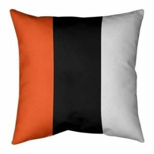 ArtVerse Cincinnati Cincinnati Football Stripes Pillow (w/Rmv Insert)-Spun Poly (26 x 26 - Square - Zipper Closure - Large - Polyester - Removable Cover -