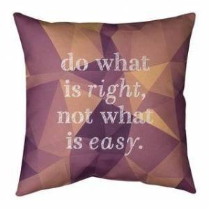 ArtVerse Quotes Faux Gemstone Do What is Right Quote Pillow-Spun Polyester (26 x 26 - Square - Knife Edge - Large - Polyester - N/A - Accent)