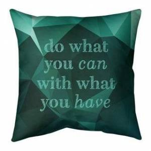 ArtVerse Quotes Faux Gemstone Do What You Can Quote Pillow (w/Rmv Insert)-Spun Poly (26 x 26 - Square - Zipper Closure - Large - Cotton - Removable Cover -