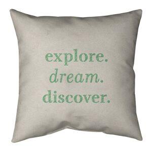 ArtVerse Quotes Handwritten Explore Dream Discover Quote Pillow-Faux Linen (18 x 18 - Square - Zipper Closure - Large - Linen - Removable Cover - Accent)