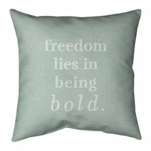 ArtVerse Quotes Handwritten Be Bold Inspirational Quote Pillow-Spun Polyester (26 x 26 - Square - Knife Edge - Large - Polyester - N/A - Accent)