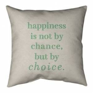ArtVerse Quotes Handwritten Happiness Inspirational Quote Pillow-Faux Suede (20 x 20 - Square - Zipper Closure - Large - Faux Suede - Removable Cover - Accent)
