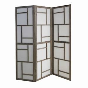 Overstock Contemporary 3 Panel Wooden Screen with Geometrical Designs, Gray