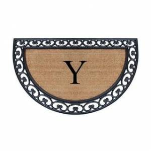 "A1 Home Collections A1HC Half Round Rubber Coir Monogrammed Double Doormat, 30"" x 48"" (Y)"