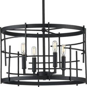 "Progress Lighting Torres Collection Black Four-Light Chandelier - 18.000"" x 23.500"" x 23.500"" (18.000"" x 23.500"" x 23.500"")"
