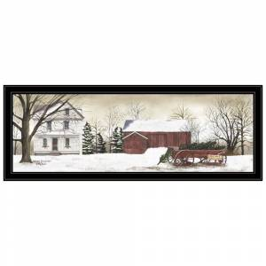 """Trendy Decor 4U """"Christmas Trees for Sale"""" By  Billy Jacobs, Ready to Hang Framed Print, Black Frame (Wood - Black)"""