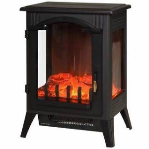 Overstock HOMCOM 750W/1500W Modern Electric Fireplace Heater with Realistic LED Faux Flame Effect (Black)