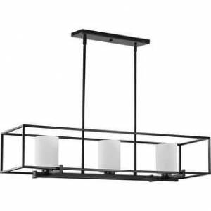 "Progress Lighting Chadwick Three-Light Matte Black Island Chandelier - 42.000"" x 14.000"" x 10.800"" (42.000"" x 14.000"" x 10.800"")"