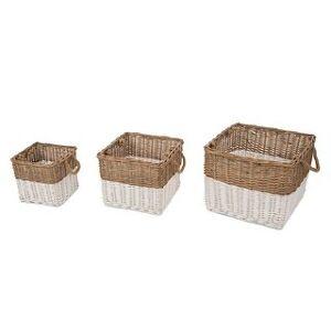 Glitzhome, Glitzhome Natural/White Willow Baskets (Set of 3) (Square)