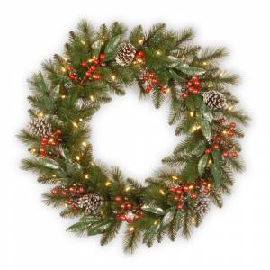 """National Tree Company 30"""" Frosted Pine Berry Wreath with Battery Operated LED Lights (FROSTED GREEN)"""