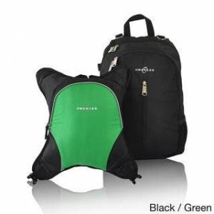 Obersee Rio Diaper Bag Backpack with Detachable Cooler (Black/Green)