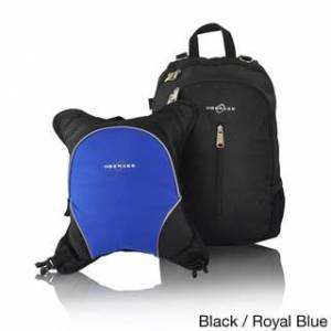 Obersee Rio Diaper Bag Backpack with Detachable Cooler (Black/Royal Blue)