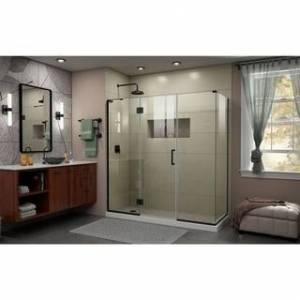 """DreamLine Unidoor-X 70 in. W x 34 3/8 in. D x 72 in. H Frameless Hinged Shower Enclosure - 34.38"""" x 70"""" (Left-Wall Installation - Satin)"""