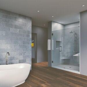 "Waterfall Bath Enclosures 43.25'' x 80"" Hinged Frameless Shower Door & Panel Reversible (Brushed Nickel)"