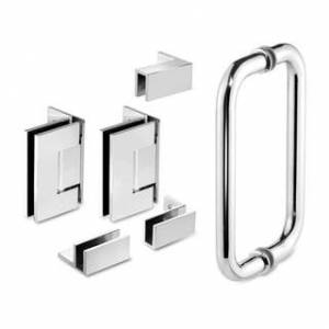 "Waterfall Bath Enclosures 56.25'' x 76"" Hinged Frameless Shower Door & Panel Reversible (Chrome)"