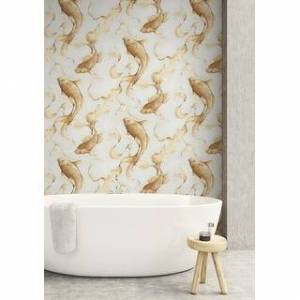 Overstock Seabrook Designs Koi Fish Unpasted Wallpaper (20.5 in. W x 33 ft. L - Metallic Gold and Off-White)