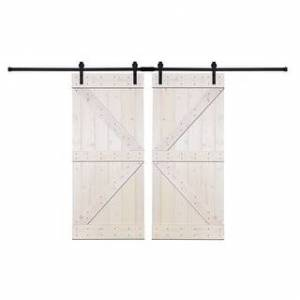 Akicon Paneled Wood Painted Double Barn Door DK Series (Set of 2) (60 - White)