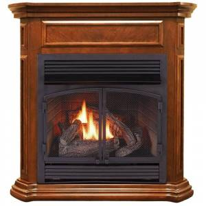 Overstock Duluth Forge Dual Fuel Ventless Gas Fireplace - 32,000 BTU, T-Stat Control, Apple Spice Finish, Model DFS-400T-4AS (Apple Spice)