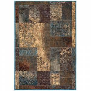 "Rizzy Home Bellevue Abstract Area Rug (6'7 x 9'6) - 6'7"" x 9'6"" (6'7"" x 9'6"" - Blue/Beige)"