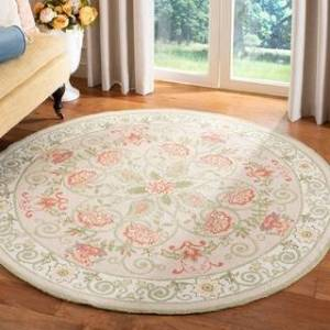 Safavieh Hand-hooked Chelsea Brooklyn Country Oriental Wool Rug (8' x 8' Round - Beige/Green)
