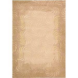 "Nourison Contour Textured Blossoms Gold, Orange Contemporary Hand-tufted Area Rug (7'3"" x 9'3"" - Beige)"
