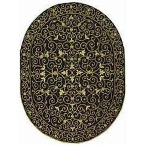 "Safavieh Hand-hooked Chelsea Cherrelle Country Oriental Wool Rug (4'6"" x 6'6"" Oval - Black)"
