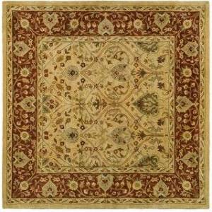 Safavieh Handmade Persian Legend Hilkje Traditional Oriental Wool Rug (8' x 8' Square - Ivory/Rust)