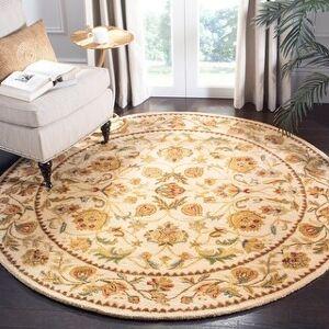 Safavieh Handmade Bergama Tiney Oriental Hand-spun Wool Rug (8' x 8' Round - Ivory)
